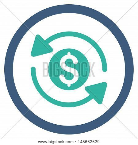 Money Turnover vector bicolor rounded icon. Image style is a flat icon symbol inside a circle, cobalt and cyan colors, white background.