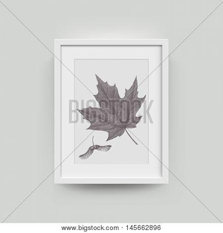 Picture frame with botanical illustration of autumn maple leaf engraving. Vector realistic paper plastic white framing mat with wide borders shadow. Isolated picture frame A4 vertical mockup template