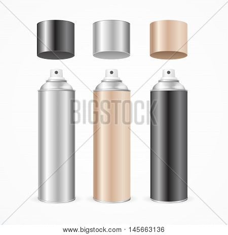 Aluminium Spray Can Template Blank Color Set. Vector illustration