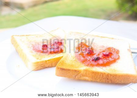 Coffee breakfast set with bread with fruit heart shape yam