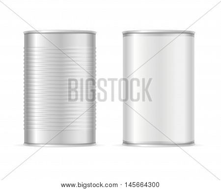 Set of Metallic Tin Cans. Vector illustration
