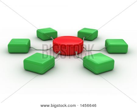 3D Network Concept (Red And Green)