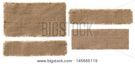Burlap Fabric Label Pieces Rustic Hessian Patch Torn Sack Cloth Isolated over White
