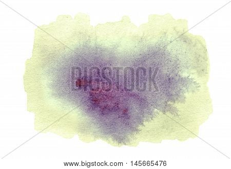 Yellow Abstract watercolour stain. Wet watercolour art hand paint on white background textured backdrop watercolor drop wave