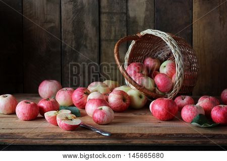 Still life with apples in a rustic style. Pink striped apples scattered from the recycle bin.
