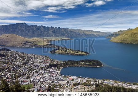 Arial View Of Lake Wakatipu And Queenstown, South Island Of New Zealand
