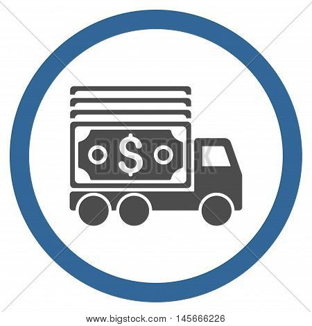 Cash Lorry vector bicolor rounded icon. Image style is a flat icon symbol inside a circle cobalt and gray colors white background.