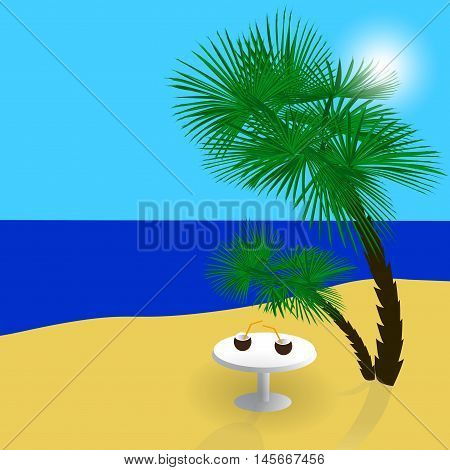 Sea, sun, sand, a beautiful holiday in the shade of palm trees. Vector illustration