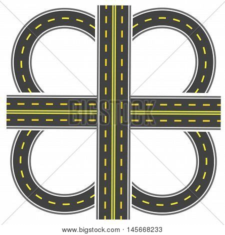 Set to build a transport interchange. Highway with yellow markings. Vector illustration