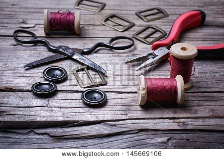Retro Set Of Buttons,thread And Scissors