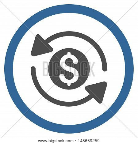 Money Turnover vector bicolor rounded icon. Image style is a flat icon symbol inside a circle, cobalt and gray colors, white background.