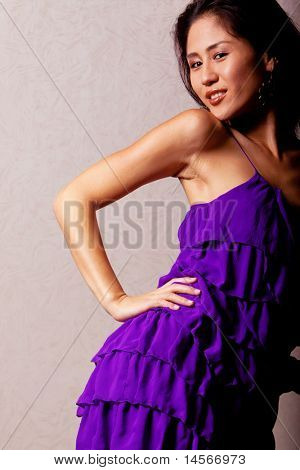 Gorgeous japanese woman wearing beautiful fashion dress
