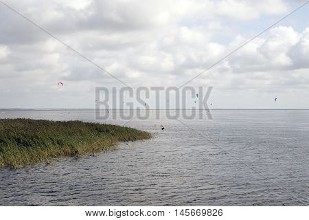 View from new dam crossing Ringkobing Fjord in Jutland Denmark
