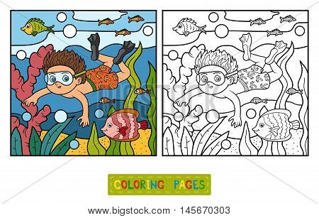 Coloring Book, Little Boy Swimming In The Sea