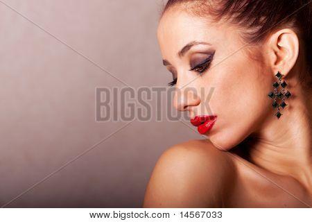 Gorgeous ethnic woman beauty shot in studio