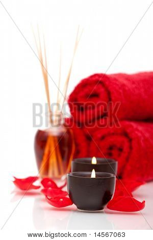 Spa items with rose petals