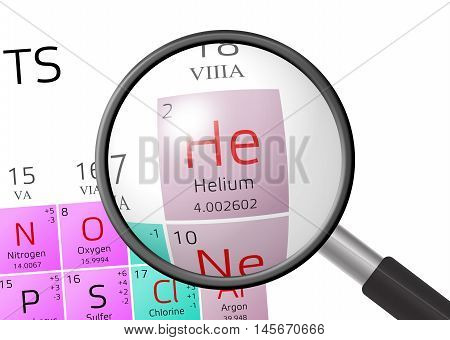 Element Of Helium With Magnifying Glass