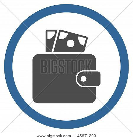 Wallet vector bicolor rounded icon. Image style is a flat icon symbol inside a circle, cobalt and gray colors, white background.