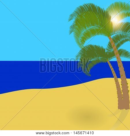 Two lonely palm trees on an exotic island, a wonderful holiday in the shade of palm trees. Vector illustration