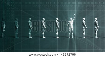 Leadership Abstract Background with Man Pumping Fist in Triumph 3d Render