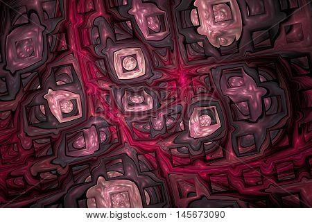 Abstract shining puzzles on black background. Fractal design in dark grey rose and crimson colors.