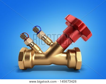 Balancing Valve Without Drain For Plumbing 3D Rendering On A Gradient Background