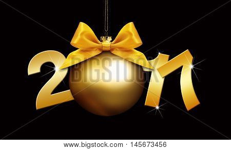 christmas ball and 2017 text with golden satin ribbon bow on black background