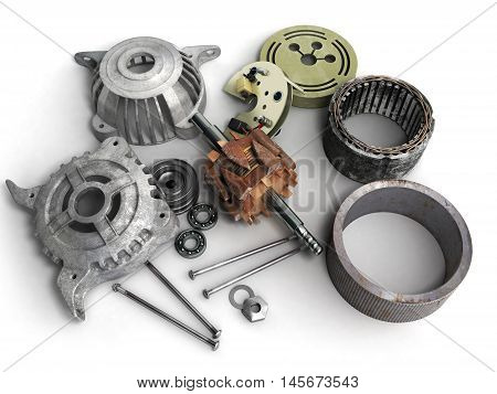 Opened Electric Motor 3D Render Isolated On White Background