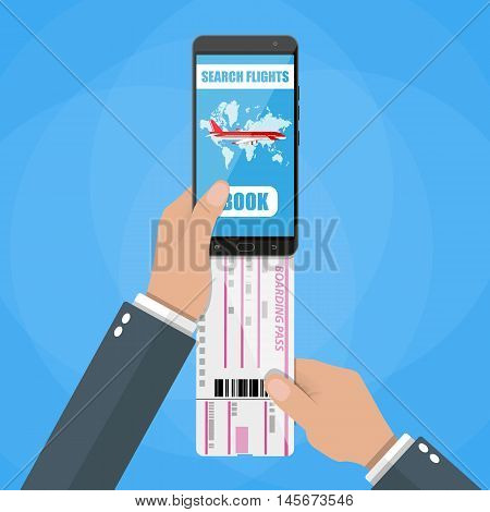 Online booking for airplane tickets. Human hand with mobile phone with booking application and airplane boarding pass. vector illustration in flat style