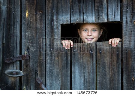 Little girl peeking through a crack in a wooden shed.