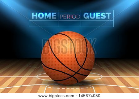 Basketball court with ball and spotlights scoreboard poster vector illustration