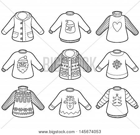 Vector colorless set of sweaters collection of Christmas pullovers