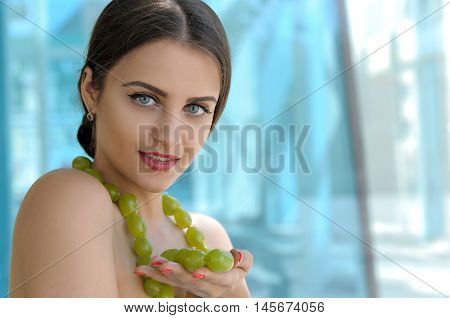 Girl Wore A Beads From Grapes On Her Neck
