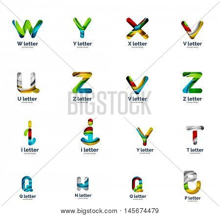 Vector set of letter logo icons, abstract geometric style