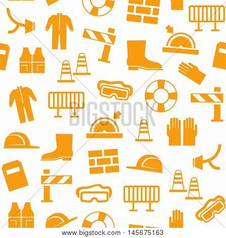 Occupational safety, personal security, background, seamless, white. Orange flat icons of protective clothing and protective items on a white background. Vector background.