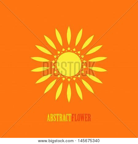 Vector Abstract Yellow Flower Mandala Icon isolated over orange background. Invitation element. Tattoo, astrology, alchemy, boho, logo and magic symbol for your projects. Easy use and recolor.