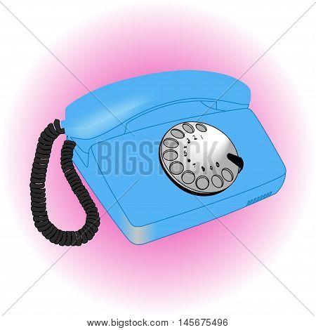 Vintage old telephone over white ligth background
