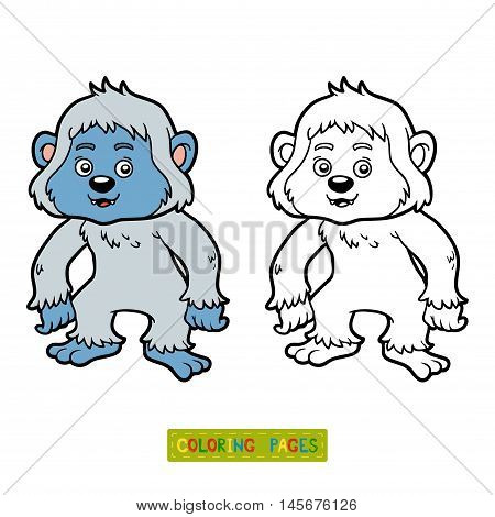Coloring book for children, vector animal Yeti