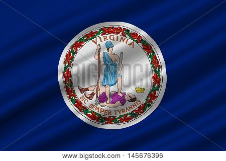 Flag of Virginia state in the South Atlantic region of United States. 3D illustration