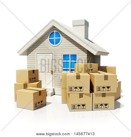 A lot of cardboard boxes for moving and home (done in 3d rendering)
