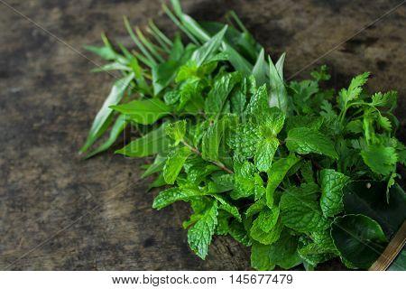 Thai vegetable, mint, spring onion, kaffir leaf and Vietnamese coriander