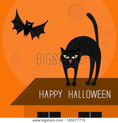 Cat arch back. Kitty on roof. Yellow eyes fangs curl whisker. Flying bat. Happy Halloween card. Moon house windows. Funny cartoon character Isolated Orange background. Flat design Vector