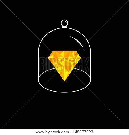 Yellow polygonal diamond. Glass bell cover cap. Half sphere lid dome with handle. Black background. Vector illustration.
