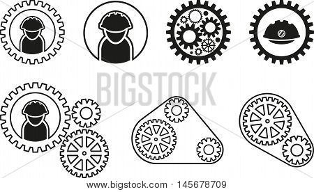 Abstract graphic set of black mechanism icon