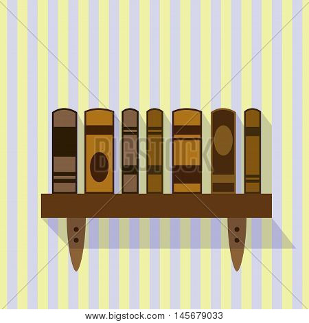 Brown bookshelf on a striped background. EPS10