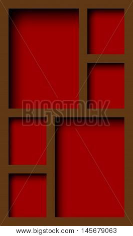 Abstract graphic empty wooden cupboard with shelves