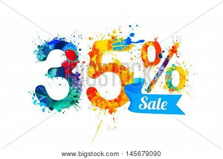 thirty five (35) percents sale. Vector splash paint