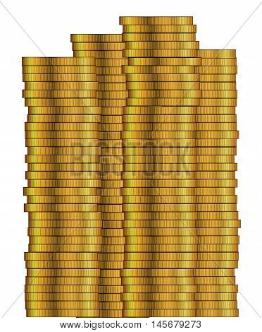Piles of gold coins isolated on a white background