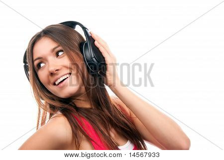 Cheerful Brunette Woman Listening And Enjoying Music