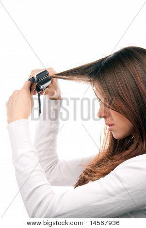 Brunette Woman Make New Stylish Hairstyle